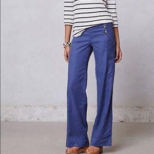 Level 99 Blue Linen Wide Leg Sailor Trouser Pants